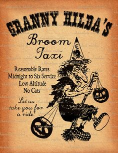 My Granny's name was Hilda. This is too funny. Retro Halloween, Halloween Labels, Halloween Images, Halloween Signs, Holidays Halloween, Scary Halloween, Halloween Crafts, Halloween Humor, Happy Halloween