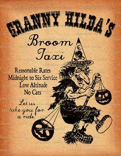 Vintage Halloween Witch Digital Download Clip by chocolaterabbit