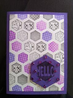 Leuk he al die zeshoekjes (Haxagons). Embossingmal + stempels die hier precies inpassen zijn van Boekenvoordeel (CraftUnlimited)