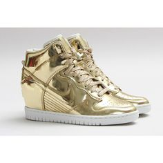 NIKE DUNK SKY HI SP (LIQUID GOLD) Sneaker Freaker ❤ liked on Polyvore featuring nike