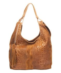 Look what I found on #zulily! Cognac Croc-Embossed Leather Hobo Bag by Massimo Castelli #zulilyfinds