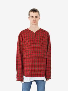 Profound Aesthetic Plaid Baseball Shirt in Red / Navy. Spring Summer 2016 Flight Through the Gardens Collection. http://profoundco.com