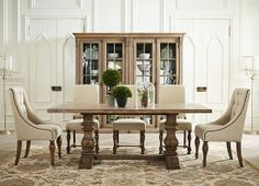 We'd have sit down dinner every evening as an excuse to use this #havertys Avondale Table!