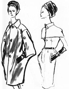 Hubert de Givenchy's ketches for his Fall 1964 collection.