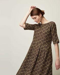 Women's Painted Flower Wool Challis Dress