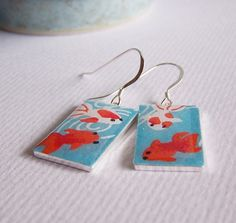koi earrings made with chiyogami paper, resin, and silver