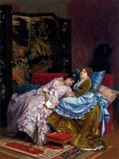 Taking a cat nap...Painting by, Auguste Toulmouche (September 21, 1829 - October 16, 1890)