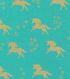 Novelty Cotton Fabric-Unicorn Turq Gold Metallic