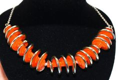 Orange Spiral Necklace - Lampwork Jewelry - Lampwork Necklace - Glass Bead Jewelry - Glass Bead Necklace - Elegant Jewelry - Wife Gift  This necklace features a 5 Lampwork spiral beads, the bead size is 30-35mm. The beads are very unique   The 925 sterling silver necklace length is 50cm and 5cm extention.  This necklace makes a bold statement that will upgrade each performance.  All of my jewelry comes with a gift box.  $45