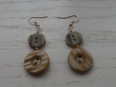 Button Earrings  Brown by kellyscreations88 on Etsy, €4.00