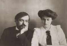 Claude Debussy and his wife Rosalie 'Lily' Texier - Claude already looking a bit bored http://www.normandythenandnow.com/houlgate/