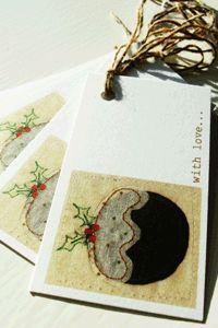 printed christmas pudding gift tags