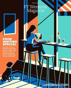 Cool illustration in minimal colours - FT Weekend Magazine (UK)