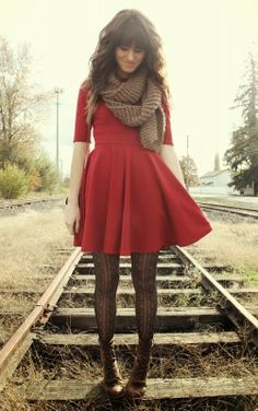 Half sleeve mini red dress, scarf, leggings and lace boots for fall