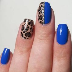 Leopard royal blue nail art