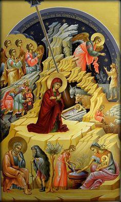 The Nativity icon Byzantine Icons, Byzantine Art, Religious Icons, Religious Art, Russian Icons, Religious Paintings, Catholic Art, Orthodox Icons, Christmas Nativity