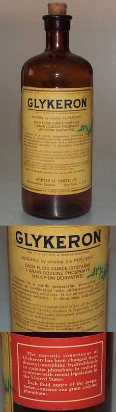 Antique bottle of Glykeron, used to treat respiratory ailments, such as asthma, bronchitis, pneumonia, etc.  Originally had morphine as an ingredient, but was switched to codeine due to new Federal legislation, possibly the Harrison Narcotics Tax Act, but I'm not sure. (from my personal collection)