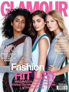 Anna Ewers, Taylor Marie Hill, and Imaan Hammam for Glamour Romania March 2017 Vogue Magazine Covers, Fashion Magazine Cover, Magazine Cover Design, Moda Aesthetic, Face Aesthetic, Model Magazine, Glamour Magazine, Group Picture Poses, Fashion Photo