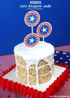 Patriotic Rice Krispies Cake + FREE red white blue party printables perfect for Memorial Day, Fourth of July and Labor Day | Kim Byers of thecelebrationshoppe.com for @Red Barn
