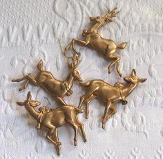 60s  Reindeer ornament .   lot of 4  . 4 reindeer ornaments . retro reindeer ornaments by vintagous on Etsy