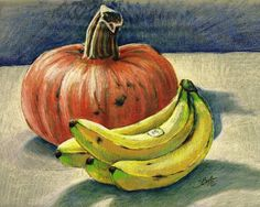 Pumpkin-and-bananas-still-life_art.jpg (650×520)