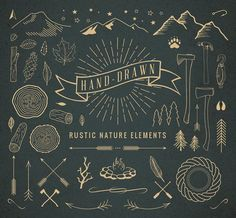 Hand-Drawn Rustic Nature Elements by Adrian Pelletier on @creativemarket