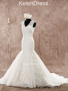 V-neck Mermaid Wedding Dresses with Appliques Custom-made Bridal Dress – kelendress