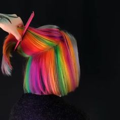 Awesome Rainbow Hair Colors for Short Hair in 2018 Hair Color Purple, Cool Hair Color, Hair Colors, Pelo Multicolor, Underlights Hair, Bright Hair, Hair Blog, Braids For Long Hair, Crazy Hair