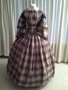 """1860 Rich Brown Silk Plaid Gown with Pagoda Sleeves 