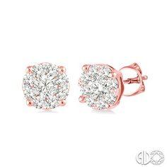 1/3 Ctw Lovebright Round Cut Diamond Earrings in 14K Pink Gold