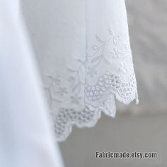 White Cotton Eyelet Border Fabric White Lace fabric by fabricmade, $6.80