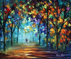 Couple in the fog Painting by Leonid Afremov - Couple in the fog Fine Art Prints and Posters for Sale