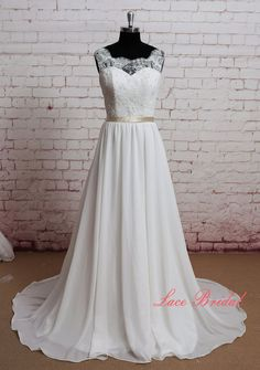 Gorgeous Lace Wedding dress Sheer Lace Neckline by LaceBridal