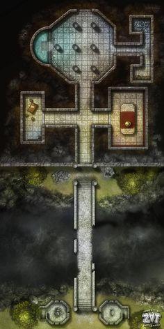 Wilderness Dwarf Fortress Ruins underdark entrance chasm bridge dwarf gate oc grid by zatnikotel (saved) xlg Dungeon Tiles, Dungeon Maps, Dungeons And Dragons Homebrew, D&d Dungeons And Dragons, Fantasy Map, Fantasy World, Pathfinder Maps, Rpg Map, Sprites
