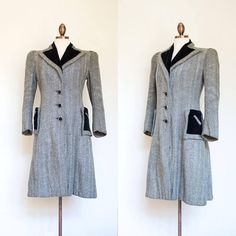vintage 1930s herringbone coat / 30s 40s black and ivory herringbone coat / XS - S