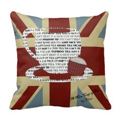 Union Jack British Tea Theme Pillow/Cushion, A Nice Cup of Tea by Fliss. Unique Design showing a shabby union jack with a cup of tea filled with typography to do with tea & a cup cake gives this a great modern Vintage inspired look.