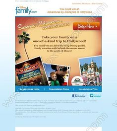 Company: Disney's Family Fun   Subject: You Could Win an Adventures by Disney Trip to Hollywood!         INBOXVISION, a global email gallery/database of 1.5 million B2C and B2B promotional email/newsletter templates, provides email design ideas and email marketing intelligence. www.inboxvision.c... #EmailMarketing  #DigitalMarketing  #EmailDesign  #EmailTemplate  #InboxVision  #SocialMedia  #EmailNewsletters