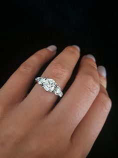 5 diamond white gold engagement ring