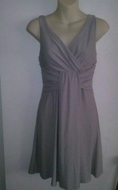 NWT+DONNA+BELLA+GRAY+DRESS+WITH+RHINESTONES.+SIZE+SMALL+(SEE+MEASUREMENTS)