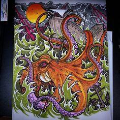 New leg design nearly finished I'm tattooing next week @steeleandinktattoo #octopustattoos #octopus #kraken #ship #oldship #tattoo #tattoos #tattooed #tattooing #tattooist #sealife #sea #waves #storm #art #design #drawing #illustration #tentacles #tattooart #tattoodesign #neotrad #neotradsub #neotraditional #newtraditional #uktattoo #bestofbritishtattoo #uk