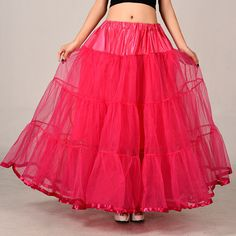 Fashion Rose Red Long Skirts Wedding Petticoat Summer Dress Long A Line Crinoline Underskirt Petticoats For Prom Dresses Tutu Skirts Long Summer Dresses, Prom Dresses, Long Skirts, Dress Long, Elegant Dresses For Women, Beautiful Dresses, Tutu Skirt Women, Tutu Skirts, Long Tutu
