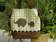 How about this super cute elephant print diaper bag? #diaperbagblog
