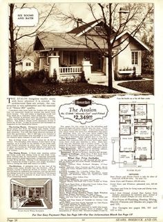 Avalon Sears Kit Home - I love these old plans from the 20's and 30's. New life goal is to build one much like this :)