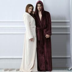 Lovers Plus Size Hooded Extra Long Flannel Warm Bathrobe Kimono Mens  Flannel Robe 27cd24b2b