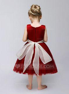 A-Line/Princess Jewel Tea-length Sash Flower(s) Tulle Sleeveless Flower Girl Dress Flower Girl Dress