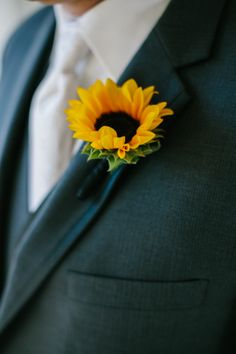 Sunflower boutonniere. Flowers by McCool Flowers. Photo by Hoffmann Photographers