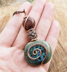 Blue and Red, Necklace, Ceramic, Copper Wire, Spiral, Wire Jewelry