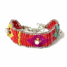 Neon Tribal Seed Bead Bracelet