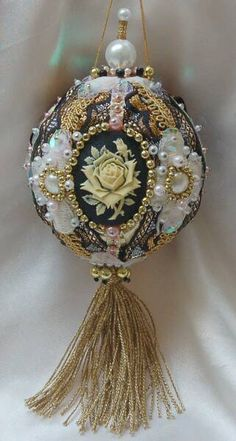 rose cameo beaded ornament - numerous ornaments for sale - various prices