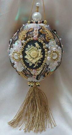 rose cameo beaded ornament